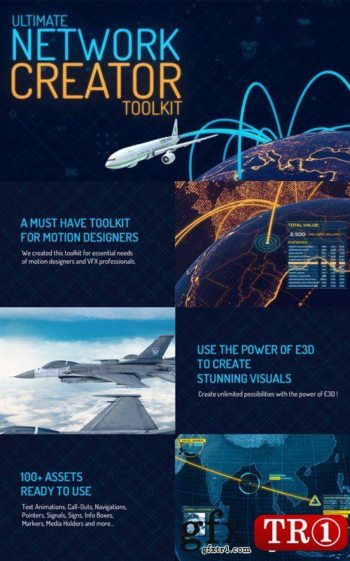 AE模板-终极科技地图布局全球网络通讯企业公司分布工具包展示15127517