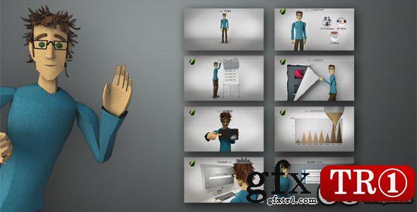 AE模板:三维人物角色动画介绍企业产品应用服务促销推广演示AE6397320