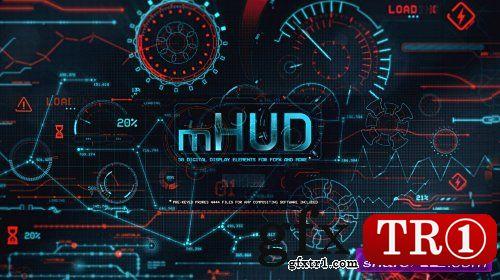 FCPX插件: mHUD 50种炫酷HUD高科技信息化UI动态元素mHUD+高清视频素材