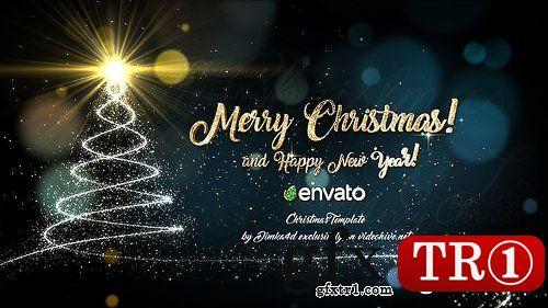 AE模板 金色粒子飞舞汇聚圣诞树圣诞主题字幕标题logo演绎Christmas 18859138