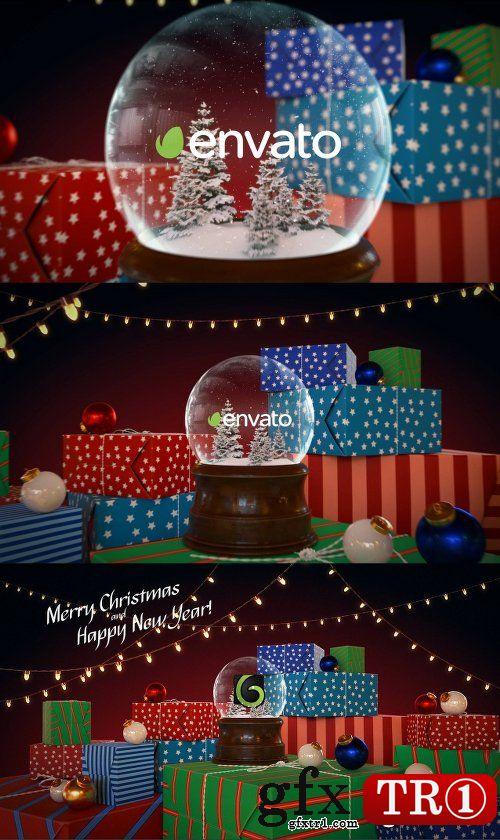 AE模板 新年快乐圣诞雪花球三维场景开场动画展示 18849550