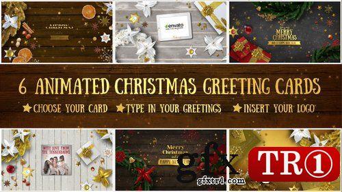 AE模板 6款新年快乐圣诞节电子贺卡视频动画展示18855075