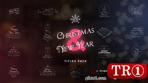 AE模板17款圣诞节新年快乐主题字幕标题logo动画设计18862641
