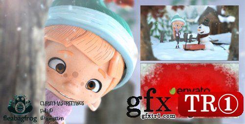 AE模板 圣诞节专题温馨三维卡通小人雪人场景动画logo标志演绎18839605