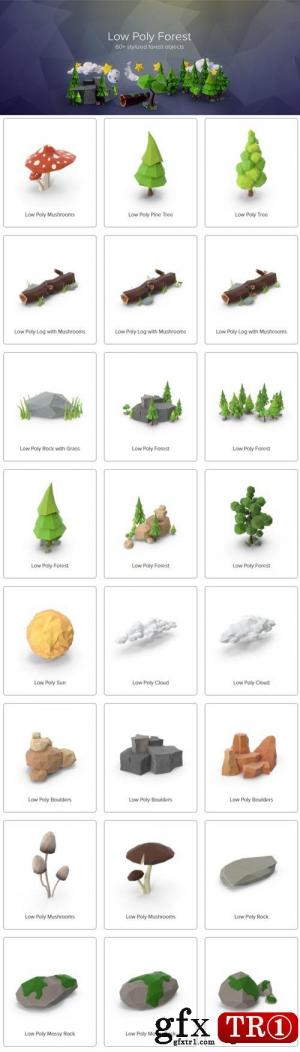Psd素材 低模森林小草石头元素包 Low Poly Forest Collection