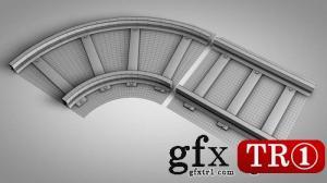 低模多边形火车轨道LowPoly Railway VR / AR / 3D model