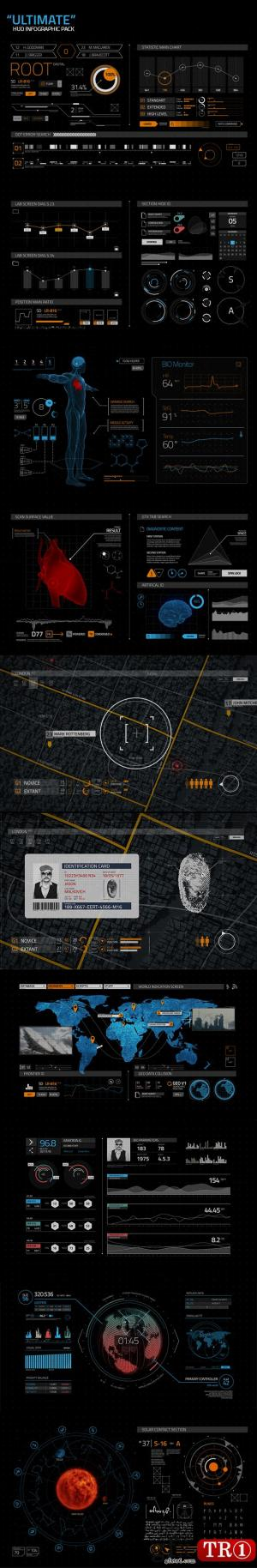 AE模板  300+终极科幻科技图表hud界面元素包  9719753