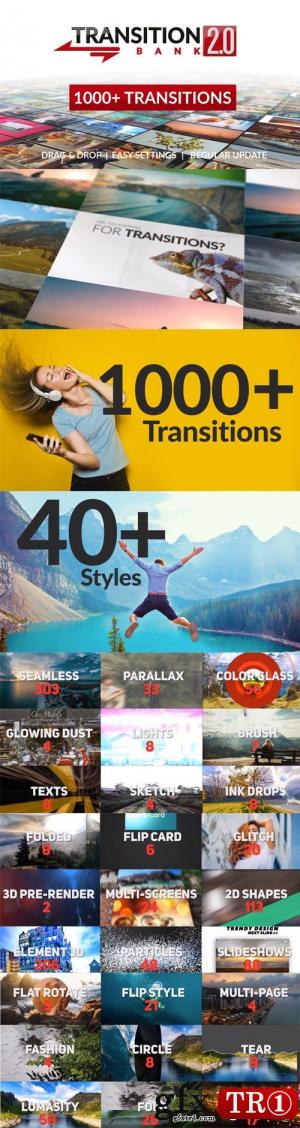 CG天下 AE模板  1000+超级转场过渡包 Transition Bank 2.0  22474650