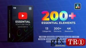 200+达芬奇模板包 Youtube Essential Pack 30928023