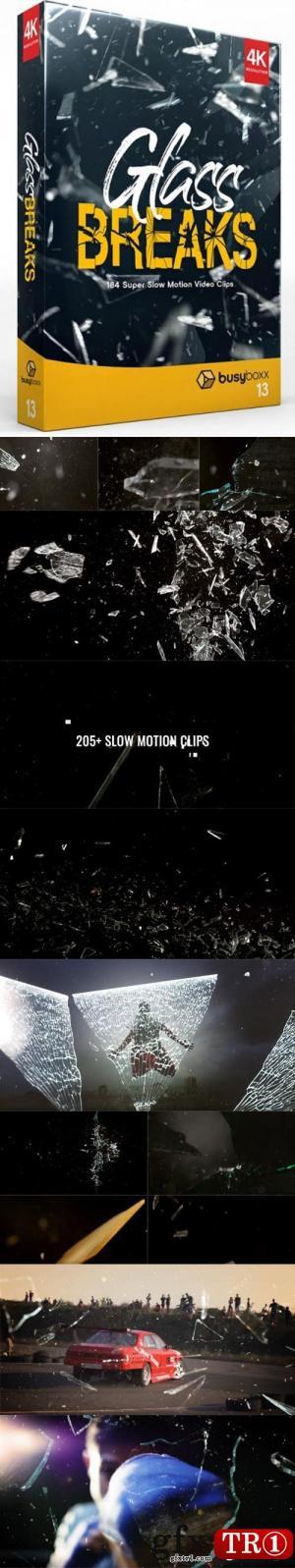 玻璃耀光破碎视频素材包 BusyBoxx - V13 GlassBreaks