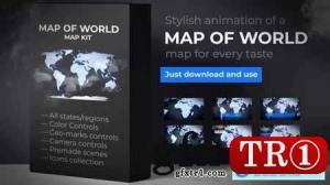 世界地图国家地图动画24335774