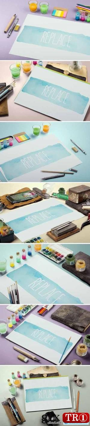 水彩颜料样机模板包Watercolor Paint Mockup Template Bundle