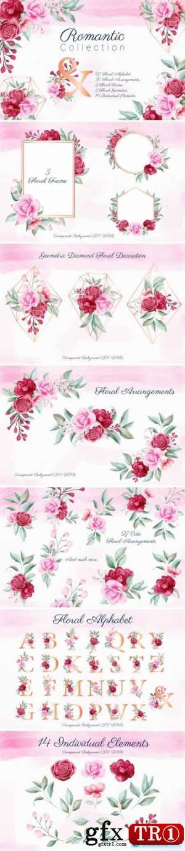 浪漫水彩花卉集合1831332