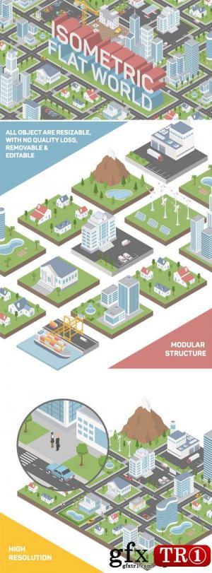 AE模板 扁平化等距城市小区mg动画展示   21085909