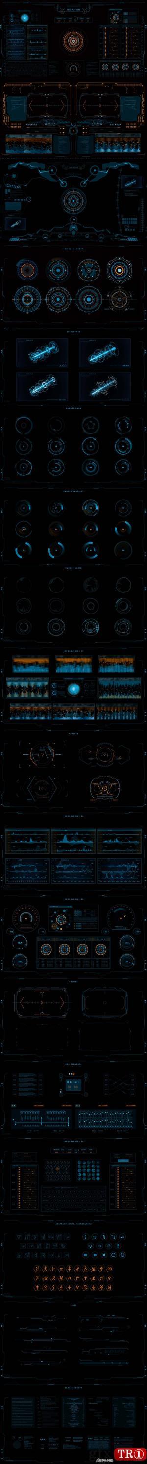 AE模板视频素材 250+4kSCI-FI科技面板ui界面设计包 17826577