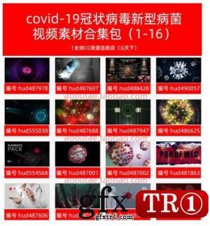2021新品16款covid-19冠状病毒新型病菌细胞视频素材合集包