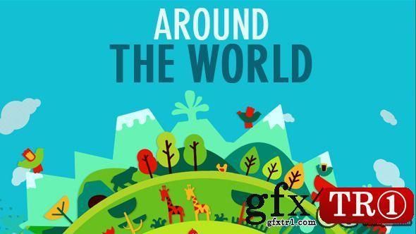 AE模板:旋转地球绿色生活世界各地扁平化风格元素MG动画展示 AE11089715
