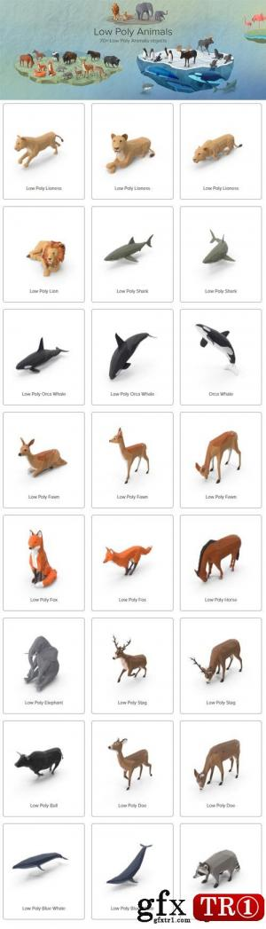 PSD分层模板 各种三维低模动画合集Low Poly Animals Collection