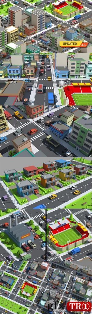 3D模型 简单的低模城市 SimplePoly City