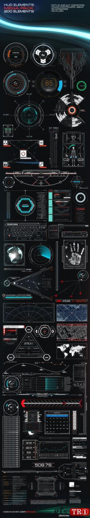 AE模板 高科技hud界面元素ui设计包  11250824
