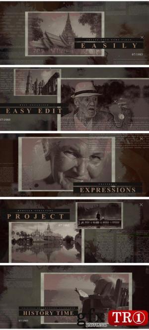 AE模板 历史纪录片时间线图文幻灯片开场片头  21317111