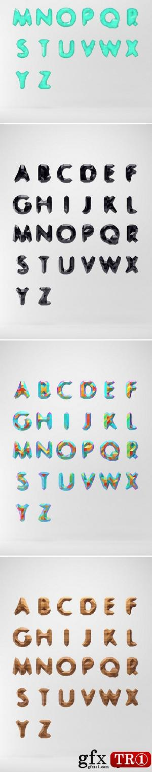 PSD素材 26个英文字母低模设计 Low Poly Font PSD