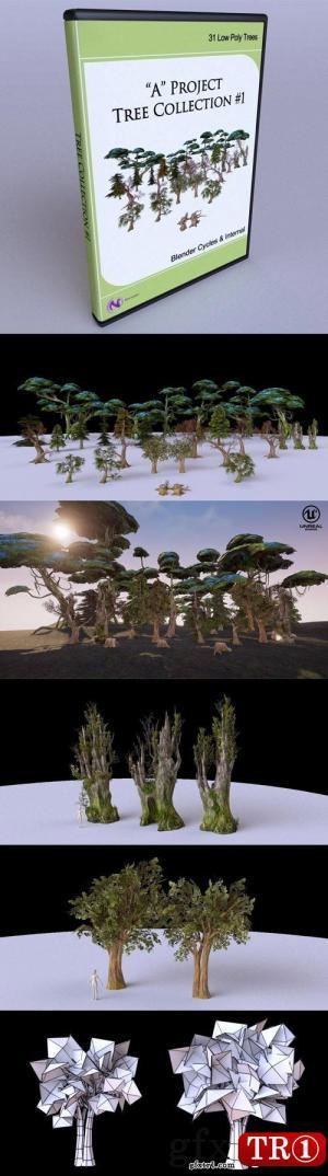3D模型 树木低模合集 Low Poly Tree Collection