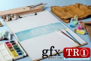 水彩画样机包 Watercolor Paint Mockup Pack 1