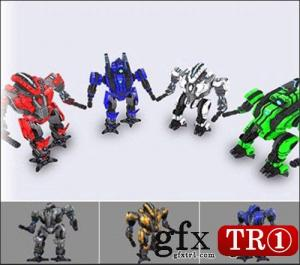 3D模型 低模机器动画模型 Low Poly Animated Robots
